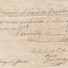 Documentos antiguos: SUSCRIPCION AL DIARIO DE BARCELONA VALLS 1879 DE 54 REALES SR JOAQUIM JORDA ABOGADO. Lote 105468763