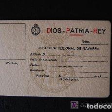 Documentos antiguos: ANTIGUA FICHA Y CARNÉ DE AFILIACIÓN CARLISTA. JEFATURA REGIONAL DE NAVARRA. (CARLISMO, REQUETÉ). Lote 105488275