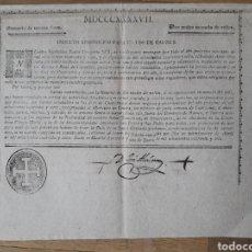 Documentos antiguos: CANARIAS: INDULTO APOSTÓLICO PARA EL USO DE CARNES (1846). Lote 105572787