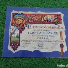 Documentos antiguos: FALLAS DOCUMENTOS ANTIGUOS FALLA GUILLEM DE CASTRO NA JORDANA - FALLERO HONOR 1947 - VALENCIA. Lote 105674283