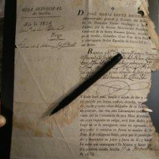 Documentos antiguos: REQUERIMIENTO TRIGO MESA ARZOBISPAL DE SEVILLA AÑO 1828.CARDENAL FRANCISCO J. CIENFUEGOS JOVELLANOS. Lote 105687040