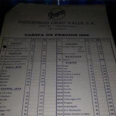 Documentos antiguos: TARIFAS 1986 PAYVA. Lote 105846511