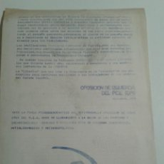 Documentos antiguos: 1976 ABSTENCION ANTE EL FRAUDE DEL REFERENDUM - OPOSICION DE IZQUIERDA DEL P.C.E. ( OPIN ). Lote 106643591