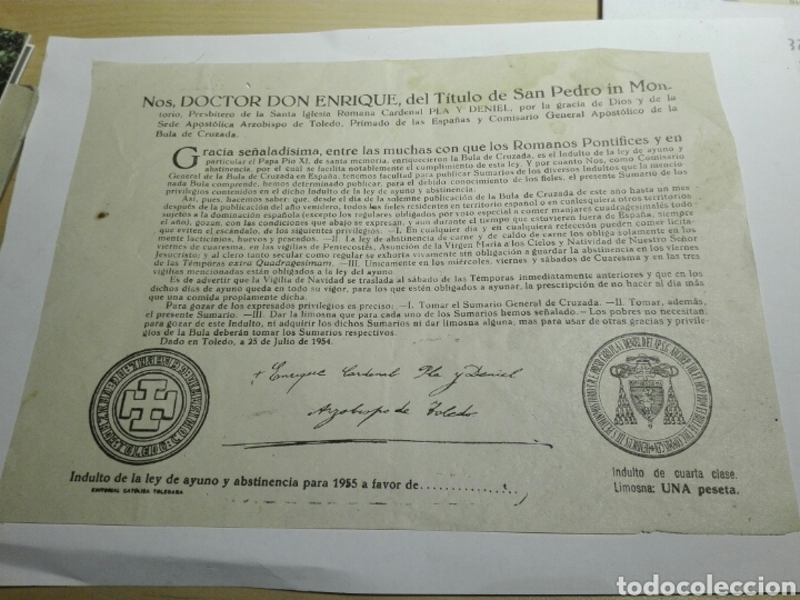 DOCUMENTO BULA AYUNO Y ABSTINENCIA 1955 (Coleccionismo - Documentos - Otros documentos)