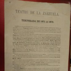 Documentos antiguos: PROGRAMA DEL TEATRO DE LA ZARZUELA TEMPORADA DE 1871 A 1872 MADRID FRANCISCO SALAS . Lote 107103759