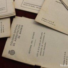 Documentos antiguos: LOTE CUADERNILLOS COLEGIO OFICIAL DE ARQUITECTOS Y APAREJADORES MADRID, AÑOS 50. Lote 107226563