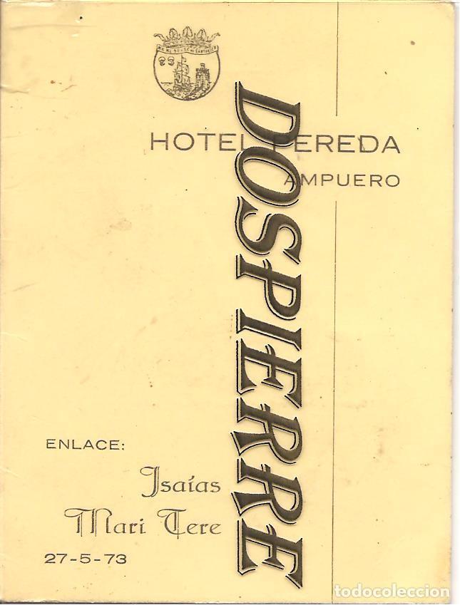 hoteles en ampuero CARTA MEN HOTEL PEREDA AMPUERO SANTANDER 1973