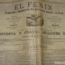 Documentos antiguos: PRECIOSA POLIZA EN PERGAMINO EL FENIX 1892. SEGURO VIDA A UN COMPOSITOR DE MÚSICA.. Lote 107523063