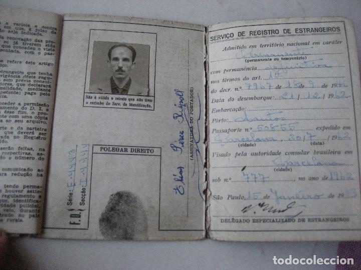 Documentos antiguos: Brasil. Carteira de Identidade para Estrangero. Carnet de Identidad. 1963 - Foto 2 - 107558075