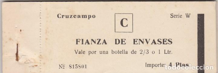 TALONARIO CRUZCAMPO.FIANZA DE ENVASES.4 PESETAS. (Coleccionismo - Documentos - Otros documentos)