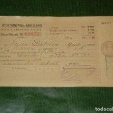 Documentos antiguos: CEDULA PERSONAL AYUNTAMIENTO DE BARCELONA 1920. Lote 107737767