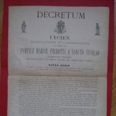 Documentos antiguos: DECRETO BEATIFICACIÓN POMPILIO PIRROTTI (ROMA,1890) TIPOGRAFÍA VATICANA. EJEMPLAR HISTÓRICO ORIGINAL. Lote 107782543