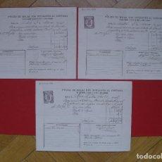 Documentos antiguos: 3 PÓLIZAS DE BOLSA (MADRID, 1909). DOCUMENTOS ORIGINALES. CON SELLOS ENTINTADOS. COLECCIONISTA. Lote 107791731