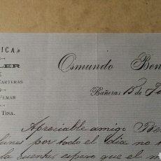 Documentos antiguos: PAPEL DE FUMAR, OSMUNDO BENEITO BAÑERAS 1890. Lote 107840187