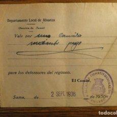 Documentos antiguos: VALE DE LA GUERRA CIVIL SAMA, LANGREO, ASTURIAS. Lote 108061747