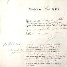 Documentos antiguos: 1831 VITORIA ALAVA - DOCUMENTO COMERCIAL DE ÉPOCA. . Lote 108283475