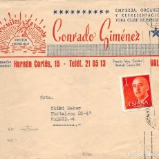 Documentos antiguos: CONRADO GIMÉNEZ -CIRCUITOS LEVANTE.-LLEVA CARTA INTERIOR. Lote 108706699