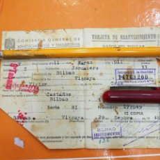 Documentos antiguos: BILBAO TARJETA DE ABASTECIMIENTO 1948. Lote 108832667