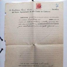 Documentos antiguos: CERTIFICACION DEL AYUNTAMIENTO DE CALAHORRA-LA RIOJA- 1940.. Lote 108905755
