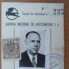 Documentos antiguos: CARNET EMPRESA NACIONAL DE AUTOMOCIONES SA PEGASO BARCELONA 1959 7 X 10 CM (APROX). Lote 108971323