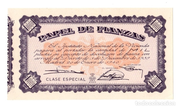 Documentos antiguos: PAPEL DE FIANZAS. INSTITUTO NACIONAL DE LA VIVIENDA. MADRID, AÑO 1940 - Foto 1 - 108985034