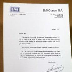Documentos antiguos: BEATLES - IMPRESOS PROMOCIONALES DE EMI - ODEON - ESPAÑA. Lote 109155579