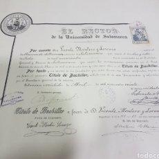 Documentos antiguos: TÍTULO BACHILLER UNIVERSIDAD DE SALAMANCA. Lote 109213620