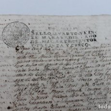 Documentos antiguos: DOCUMENTO MANUSCRITO VILLA REAL, SELLO 4º, 20 MARAVEDIES, 1735, FELIPE V. Lote 109242691