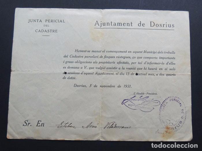 DOSRIUS ( BARCELONA ) / DOCUMENTO JUNTA PERICIAL DEL CADASTRE / AÓ 1931 (Coleccionismo - Documentos - Otros documentos)