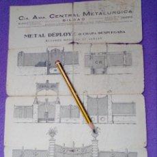 Documentos antiguos: CIA.AMA.CENTRAL METALURGIA.BILBAO-MADRID.METAL DEPLOYE O CHAPA,VERJAS.AÑOS 20.. Lote 109408871
