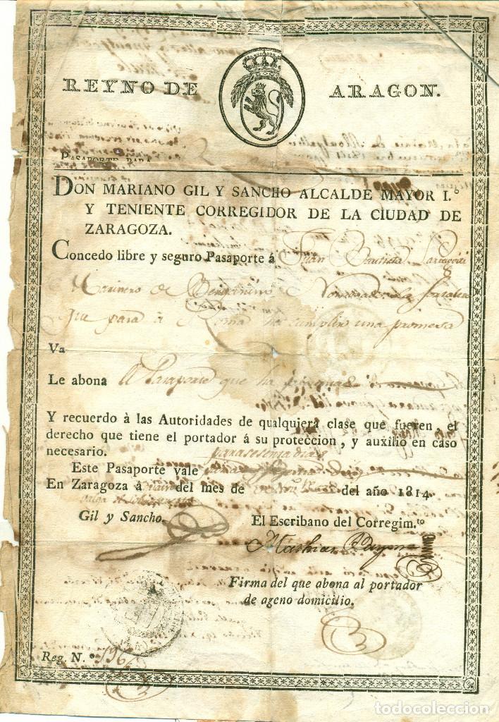 ZARAGOZA GUERRA INDEPENDENCIA PASAPORTE EXPEDIDO POR ALCALDE MARIANO GIL Y SANCHO.AÑO 1814. MUY RARO (Coleccionismo - Documentos - Otros documentos)