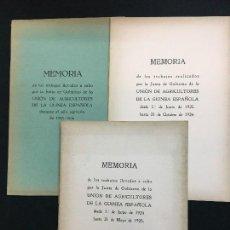 Documentos antiguos: LOTE DE 3 MEMORIAS. UNIÓN DE AGRICULTORES DE LA GUINEA ESPAÑOLA. 1924-25, 1925-26 Y 1933-34.. Lote 109494207