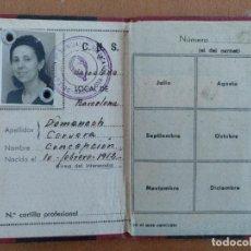 Documentos antiguos: CARNET DELEGACION PROVINCIAL DE SINDICATOS BARCELONA CNS SECCION PIEL CALZADO 1944/1945. Lote 109535239