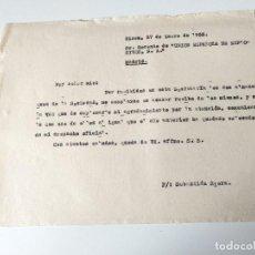 Documentos antiguos: CARTA A MAQUINA DIRIGIDA A UNION ESPAÑOLA DE EXPLOSIVOS SA, MADRID. Lote 109537763