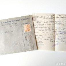 Documentos antiguos: SOBRE CIRCULADO 1954 COLEGIO ARQUITECTOS CATALUÑA Y BALEARES+DOCUMENTO MINUTA HONORARIOS. Lote 109538155
