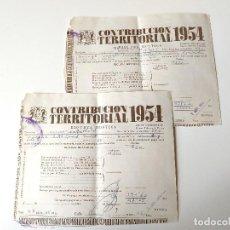 Documentos antiguos: 2 DOCUMENTOS CONTRIBUCION TERRITORIAL 1954 , MONTUIRI. Lote 109538199