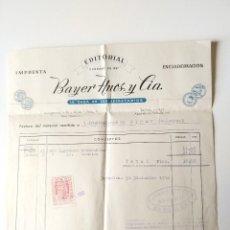 Documentos antiguos: FACTURA ORIGINAL 1952 IMPRENTA EDITORIAL BAYER HERMANOS Y CIA, BARCELONA. Lote 109538519