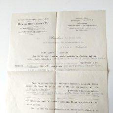 Documentos antiguos: CARTA COMERCIAL FIRMADA ORIGINAL 1952, BAYER HERMANOS Y CIA, BARCELONA. Lote 109538679