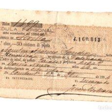 Documentos antiguos: CEDULA PERSONAL SEVILLA. AÑO 1884. Lote 109786427