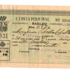 Documentos antiguos: CEDULA PERSONAL VILLAFRANCA. BADAJOZ. AÑO 1932. CON FOTOGRAFIA. Lote 109817756