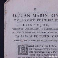 Documentos antiguos: REAL DECRETO CARLOS IV, ARANDA DE DUERO 1795. Lote 109867503