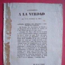 Documentos antiguos: LAUREANO SANZ.-CUARTEL GENERAL DE GRACIA.-SUPLEMENTO A LA VERDAD.-MILITAR.-IMPRENTA LA VERDAD.-1843.. Lote 110065611