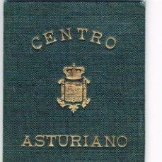 Documentos antiguos: CARNET DE SOCIO DE CENTRO ASTURIANO DE MADRID. AÑO 1919. Lote 110092331