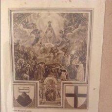 Documentos antiguos: ESTAMPA VIRGEN DE MONTSERRAT, RODEADA DE LOS SANTOS Y REYES QUE HAN VISITADO SU SANTUARIO. Lote 110095707