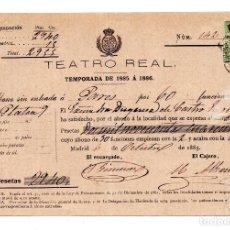Documentos antiguos: PAGO ABONO TEMPORADA DE 1885 A 1886 DEL TEATRO REAL DE MADRID AL PALCO PLANTA 9.DUQUESA DE CASTRO. Lote 110251627
