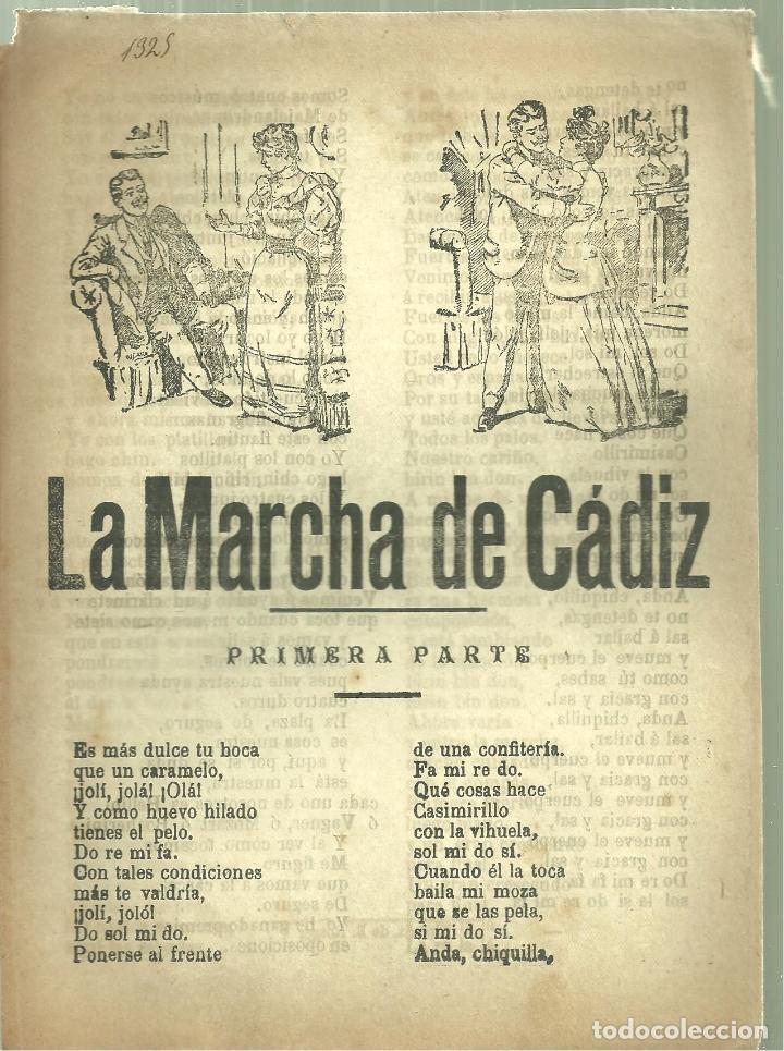3735.-PLIEGO DE CORDEL-IMPRESO EN PALMA DE MALLORCA-LA MARCHA DE CADIZ (Coleccionismo - Documentos - Otros documentos)