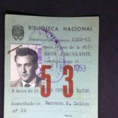 Documentos antiguos: CARNET DE LA BIBLIOTECA NACIONAL, MADRID.1953. Lote 110444075