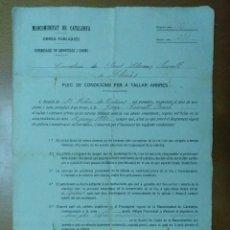 Documentos antiguos: MANCOMUNITAT DE CATALUNYA OBRES PUBLIQUES PLIEGO CONDICIONES TALA ARBOLES SANT LLORENÇ SAVALL/LLINAS. Lote 110871927