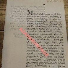 Documentos antiguos: SEVILLA, 1752, NOTIFICACION SOBRE DERECHOS REALES DE PESCADOS DEL MAR,EL SALADO Y ESCABECHES. Lote 110874219