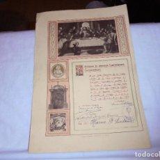 Documentos antiguos: ARCHICOFRADIA DE LA VELA NOMBRAMIENTO DE SOCIA ACTIVA OVIEDO 1909. Lote 111173267